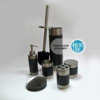 Stainless steel bathroom set high temperature paint black toilet brush bottle