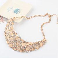 Gold Plated Alloy Opal Rhinestone False Collar Choker Statement Bib Necklace 2014 New Fashion Jewelry For Women Wholesale MJ0450