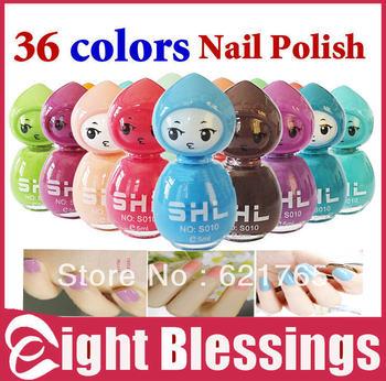 New Arrivals 36 colors Popular  Nail Polish Set Nail Art Enamel 12 colors /Lot Lovely Mini princess Free Shipping