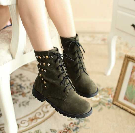2013 New Suede Rivet Lace Up Martin Boots Fashion women Ankle boots black green brown RA305(China (Mainland))
