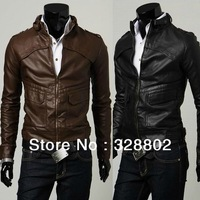 High quality 2013 Autumn and winter products Classic article arc design leather coat of cultivate one's morality leather jacket