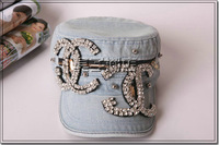 Baseball cap crystal cap denim diamond casual cap women's hat