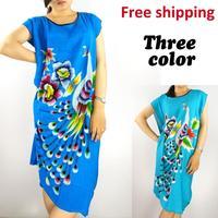 Free Shipping 2014 Hot Sale Women Summer Intimates Sleepwear Thin Sleeping Skirt Home Robe Dress Pink peafowl colour pajamas