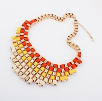 Red ribbon weaving punk fashion necklace with 18 k gold accessories - 95109