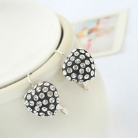 Free Shipping!!! South Korea Sweet Hearts Joker Black Set With Drill Earrings Fashion Jewelry E1095