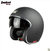 Free shipping/Motorcycle helmet/Jet helmet/ retro 3/4 half helmet/Tanked-Racing helmet/V537/inner visor/ MOMO style helmet/matte