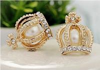 Min.order is $30(mix order) Pearl cross Imitation diamond Crown Earrings new fashion Jewelry HOT