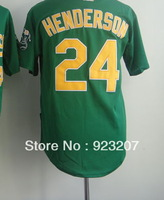 Free Shipping 2013 New Brand Popular Cheap Men's Oakland #24 Rickey Henderson White/Green USA Baseball Sportswear Jerseys Stitch