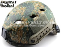 Ops-Core FAST Base jump Military Helmet with ARC Rails and NVG Mount digital woodland Camouflage
