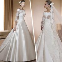 2013 edition sexy royal train wedding dress slit neckline lace long-sleeve winter wedding dress wedding