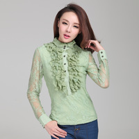 2013 New Fashion Style High Quality Lace Blouse For Women Long Sleeve Shirt Solid Color Black Green Chiffon Top XL Free Shipping
