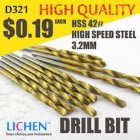 LICHEN D321 Diameter 3.2mm Twist Drell Bit & Metal Drilling & High Speed Steel HSS 42# Drill Bit