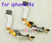 5pcs/lot Charger Dock Connector Flex Cable for iPhone 4S Black and White color free shipping
