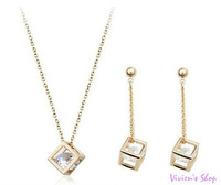 New Arrive Fashion Zircon Jewelry Set Cubic Necklace Earrings Set AJS024 Free shipping