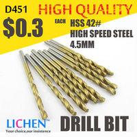 LICHEN D451 Diameter 4.5mm Twist Drell Bit & Metal Drilling & High Speed Steel HSS 42# Drill Bit