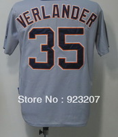 2013 Cheap Detroit Men's #35 Justin Verlander White/Grey/Black American Team Baseball Sports wear Jerseys Shirts Sewing Logos