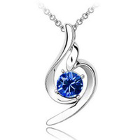 (Min order $10 mix) Fashion 18K white gold plated austrian crystal Lucky angel women wedding Pendants necklace