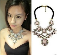 Min.Order Is $15(mixed order)Fashion jewelry,Wholesale new Qi Cherry Pink Sapphire and gem layers exaggerated Necklace