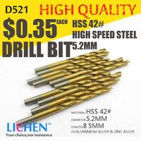 LICHEN D521 Diameter 5.2mm Twist Drell Bit & Metal Drilling & High Speed Steel HSS 42# Drill Bit