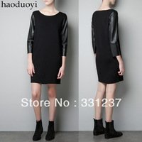 Womens knitting three quarter sleeve dress with pu patchwork in shoulder for freeshipping and wholesale