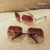 Fashion star style fashion sunglasses gradient women's rimless sunglasses vintage big box frog glasses