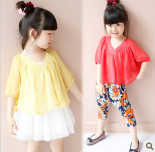 Children's clothing female child summer 2013 child double V-neck loose half sleeve skirt suit mantissas top sun protection shirt