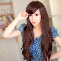 Free Shipping Heat Resistance Beautiful 65cm Dark Brown Medium Long Synthetic Hair Party Wig