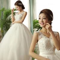 High waist wedding dress 2013 sweet puff skirt slit neckline high waist lace maternity wedding dress