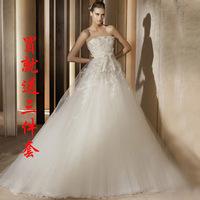 2013 tube top petal lace high waist strap fashion maternity wedding dress formal dress train