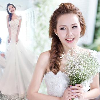 Wedding dress sweet princess bride wedding dress one shoulder tube top wedding dress formal dress maternity strap 2013 8009