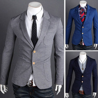 (3 colors 4 sizes) Free shipping Spring Men Fashion men's suit jacket 2013 spring male buckle knitted casual suit jacket  MY8604