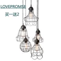 Nostalgic vintage wrought iron pendant light retractable pendant light bar lights light bulb