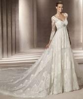 2013 fashion wedding dress luxurious train noble V-neck long-sleeve wedding dress formal dress