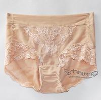 Cross - - mid waist abdomen belt drawing tiebelt summer butt-lifting seamless lace panties