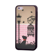 1 Piece Free Shipping Fashion Cute Street Cat Birdcage Design Hard Case For iPhone 5 5G,For iPhone 5 Cute Cat Hard Case