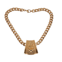 Min.order is $15 (mix order)New Fashion Rectangle Head Lion Metal Chain with Gold Color Necklace For Woman Jewelry