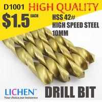 LICHEN D1001 Diameter 10.0mm Twist Drell Bit & Metal Drilling & High Speed Steel HSS 42# Drill Bit
