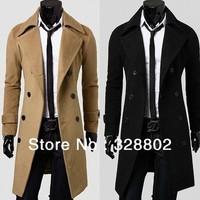 New 2014 polo Men's Trench Men's fashion coat long double-breasted coat jackets for men winter coat men's jacket for winter XXXL