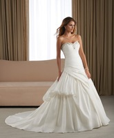 Free Shipping !! Elegant Strapless Sweetheart  Satin With Beading Wedding Dress Bridal Gown Wholesale/Retail