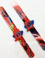 Free shipping by!100pcs/lot!Hot Sale Spiderman Digital Slap Watch Cartoon Children Wristwatch Slicone Snap Watch G2858 Wholesale