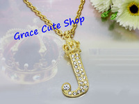 Free Shipping Crystal Logo Crown Pendant Necklace Gold/Silver Chains Top Quality Package (Dust Bag,Gift Box) #JCN196