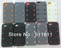 Hybrid pc+tpu shockproof protective combo stand case for iphone 5 ,100pcs/lot Free shipping by DHL