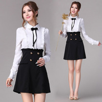 10047 2013 spring black-and-white xiangpin ruffle elegant long-sleeve shirt paragraph dress