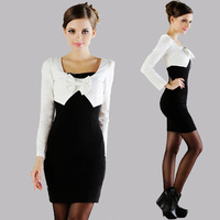 10018 2013 spring two-color juxtaposition long-sleeve dress slim tight