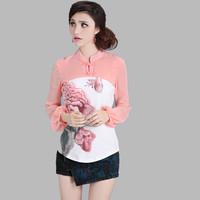 8863 2013 autumn stand collar lantern sleeve slim long-sleeve chiffon shirt butterflies