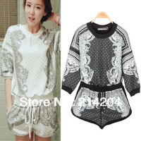 2013 autumn Retro Vintage Misslady personalized decorative pattern print loose T shirt and shorts casual set sports pants suit