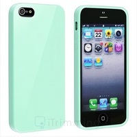 High Quality Mint Green Jelly Rubber Gel Protective TPU Case Cover For iPhone 5