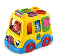 free shipping,Intellectual interest touring bus, electric universal car, educational building blocks toys