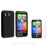 New Black Silicone Skin Case Cover+Screen Protector For HTC Inspire 4G Desire HD
