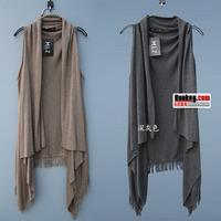 2015 female spring sweater plus size tassel vest cape 100% medium-long cotton knitted waistcoat vest